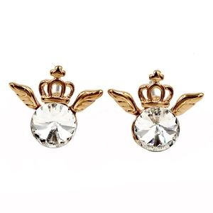 Gold mini crown and crystal earrings